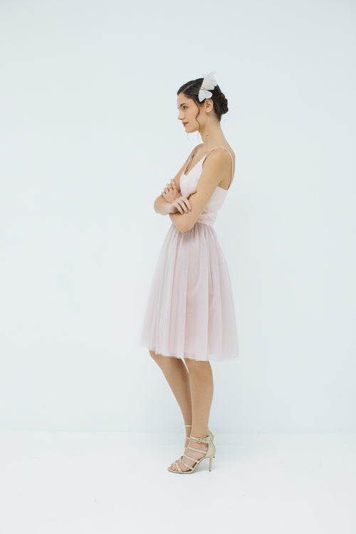 Sylvie Short Tulle Skirt in Blush