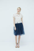 Sylvie Short Tulle Skirt in Navy