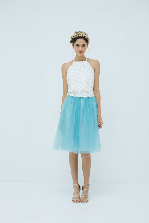 Sylvie Short Tulle Skirt in Tiffany