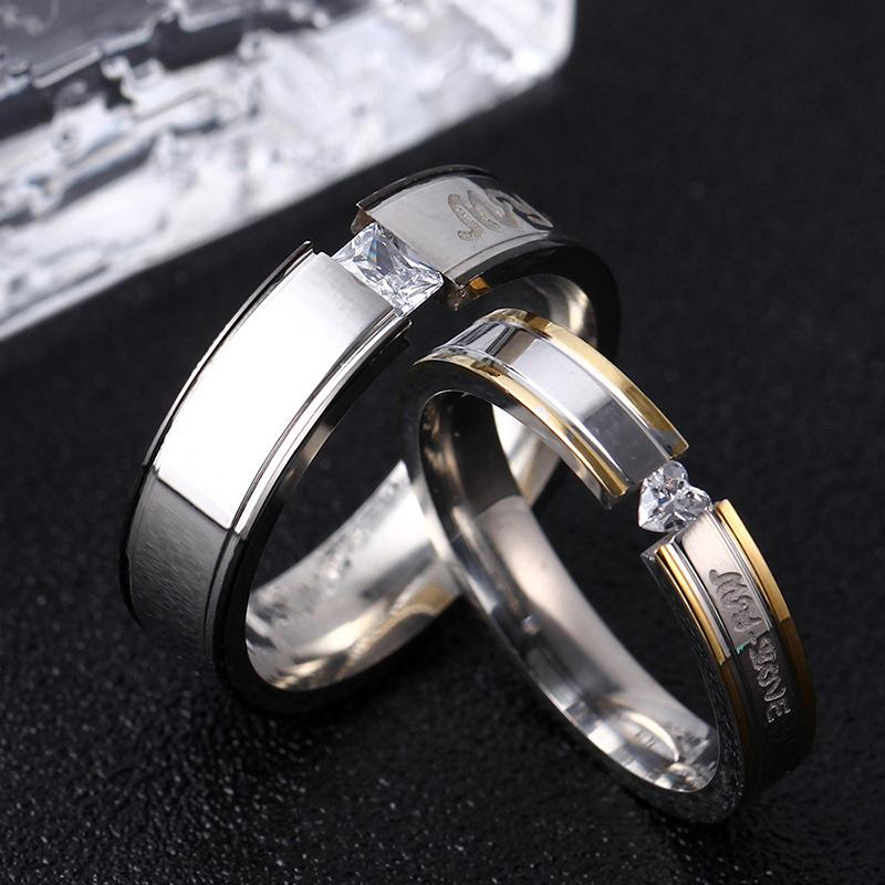 Couple's My Love Diamond Tension-Design Titanium Promise Ring with Black & Gold IP