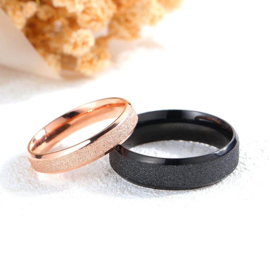 Black and Rose Gold Plated Stainless Steel Couple Rings