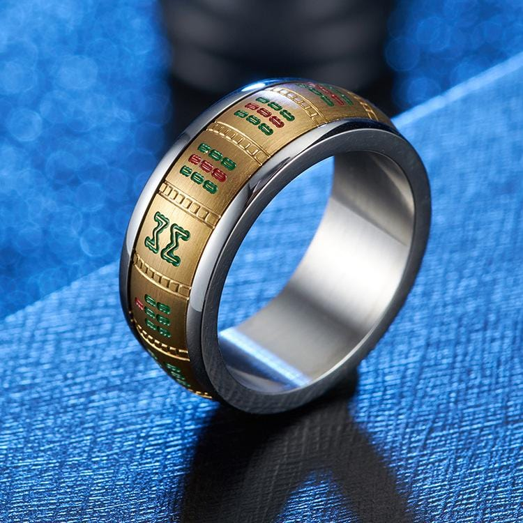 Couple's 9.0mm Engravable Riichi Mahjong Two-Tone Titanium Promise Rings with Gold IP