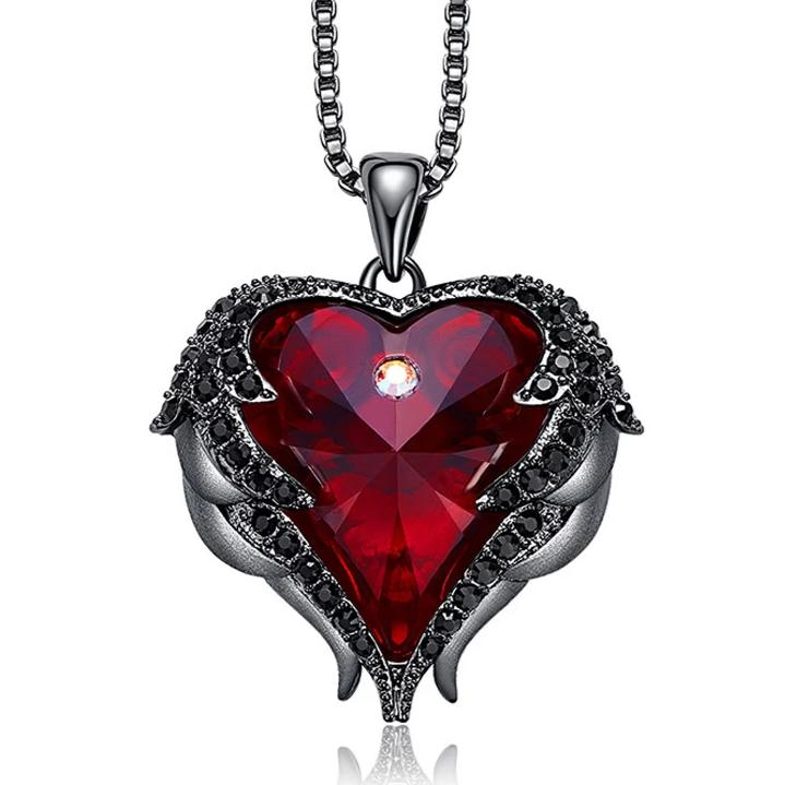 Red Crystal Heart and Black Wings Necklace
