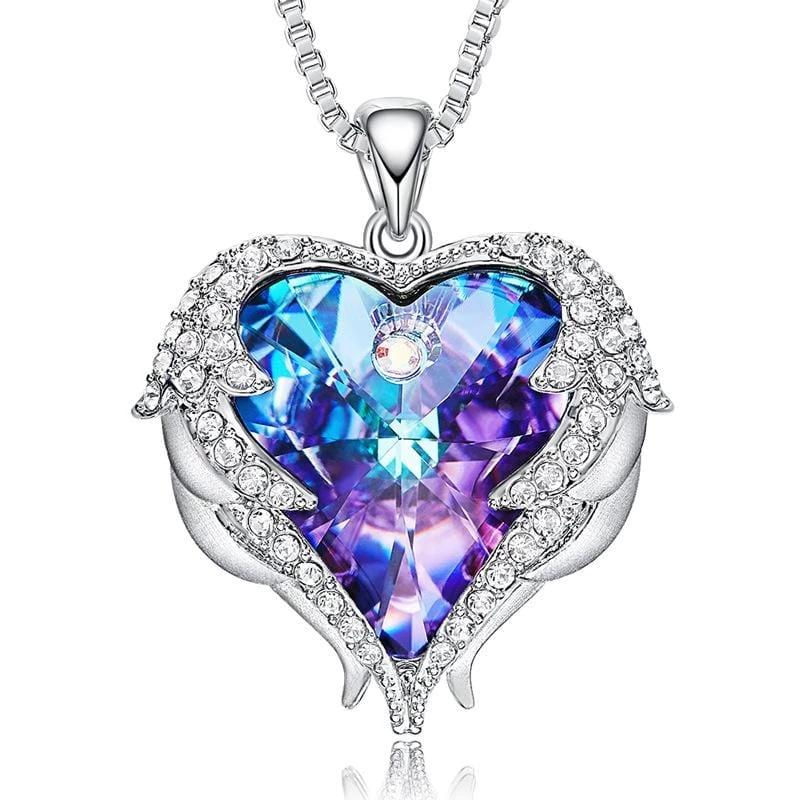 Purple Crystal Heart and Wings Necklace