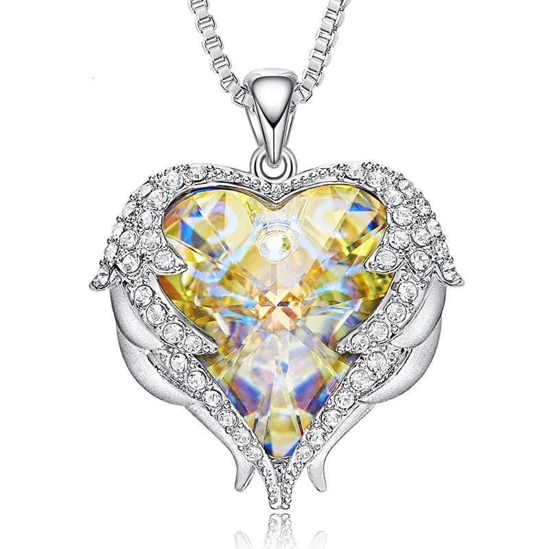 Yellow Crystal Heart and Wings Necklace