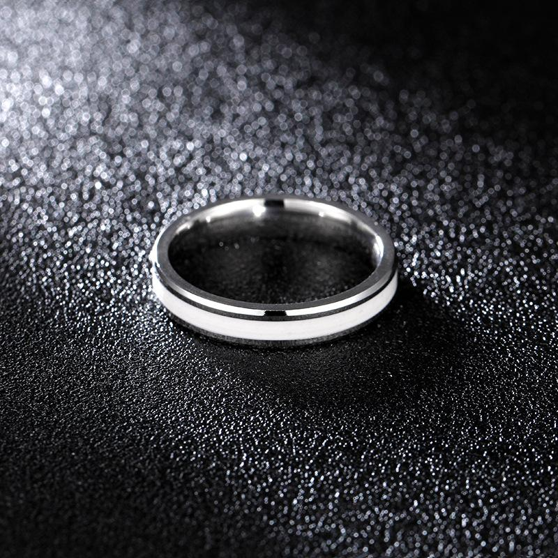 Couple's Black & White Enamel Titanium Promise Ring