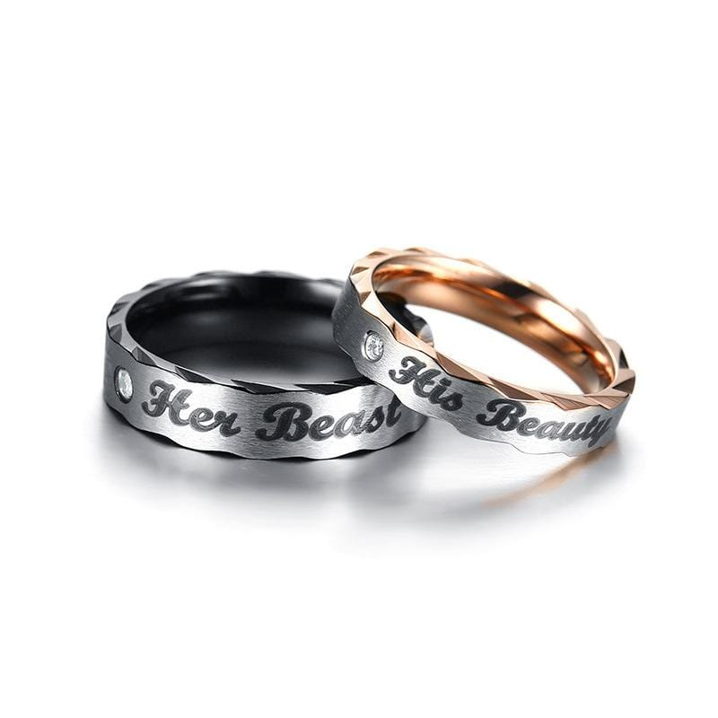 Her Beast His Beauty Black and Rose Gold Plated Stainless Steel Couple Rings