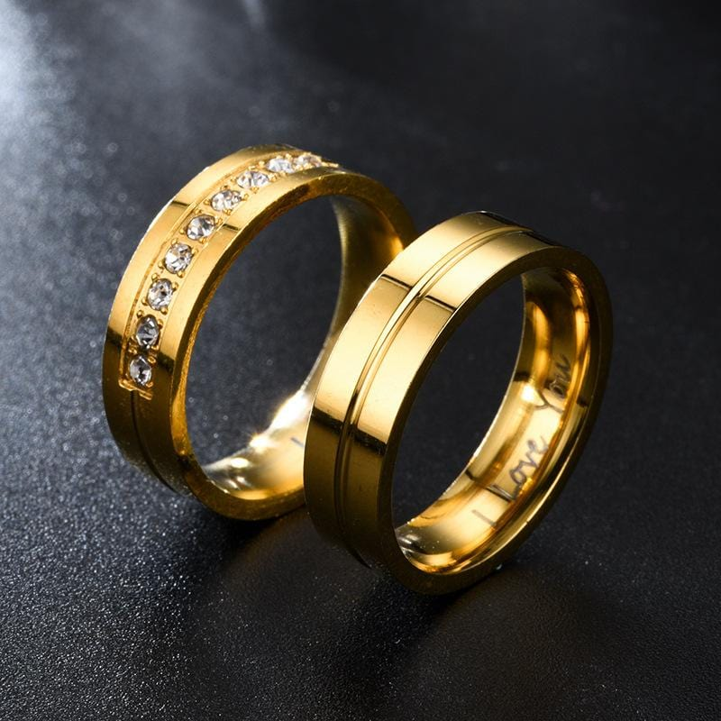 Engraved I LOVE YOU Gold Tone Couple Rings