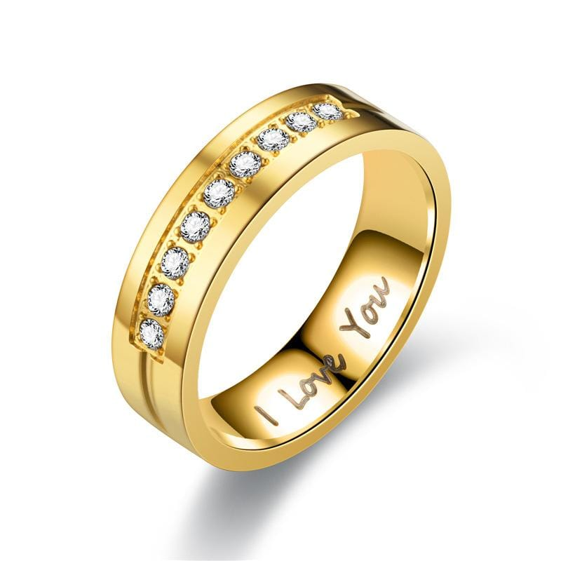 Engraved I LOVE YOU Gold Tone Couple Rings - Women's Ring