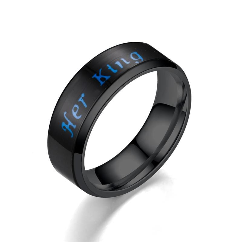Couple's Her King His Queen Temperature Sensitive Promise Rings in Stainless Steel with Black IP