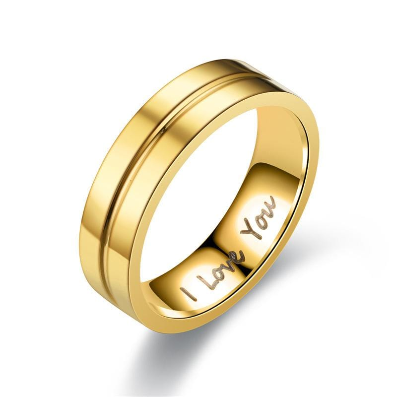 Engraved I LOVE YOU Gold Tone Couple Rings - Men's Ring