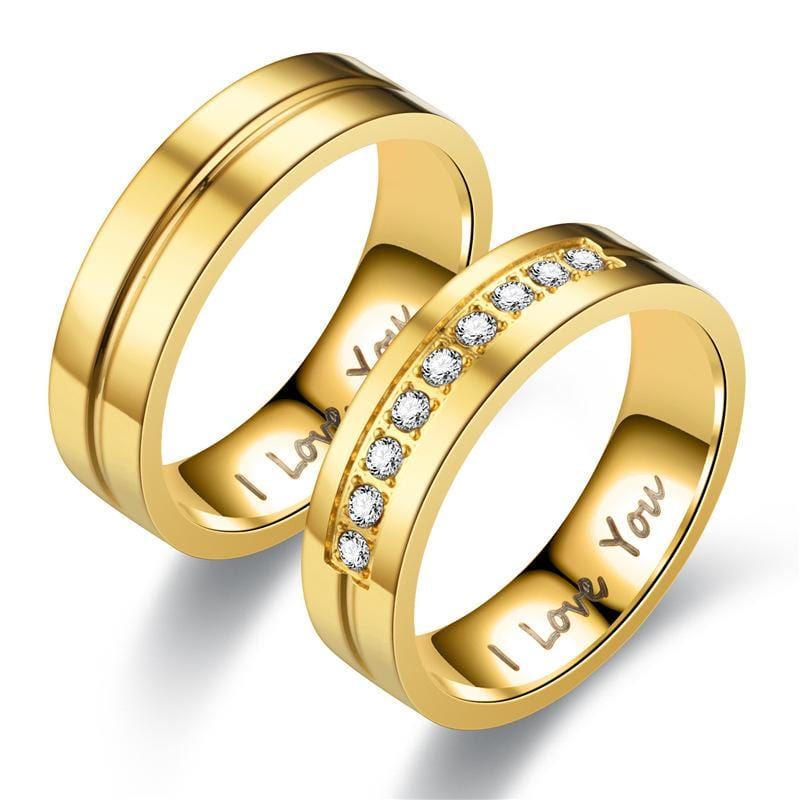 Couple's 6.0mm Engravable I LOVE YOU Promise Rings in Stainless Steel with Gold IP