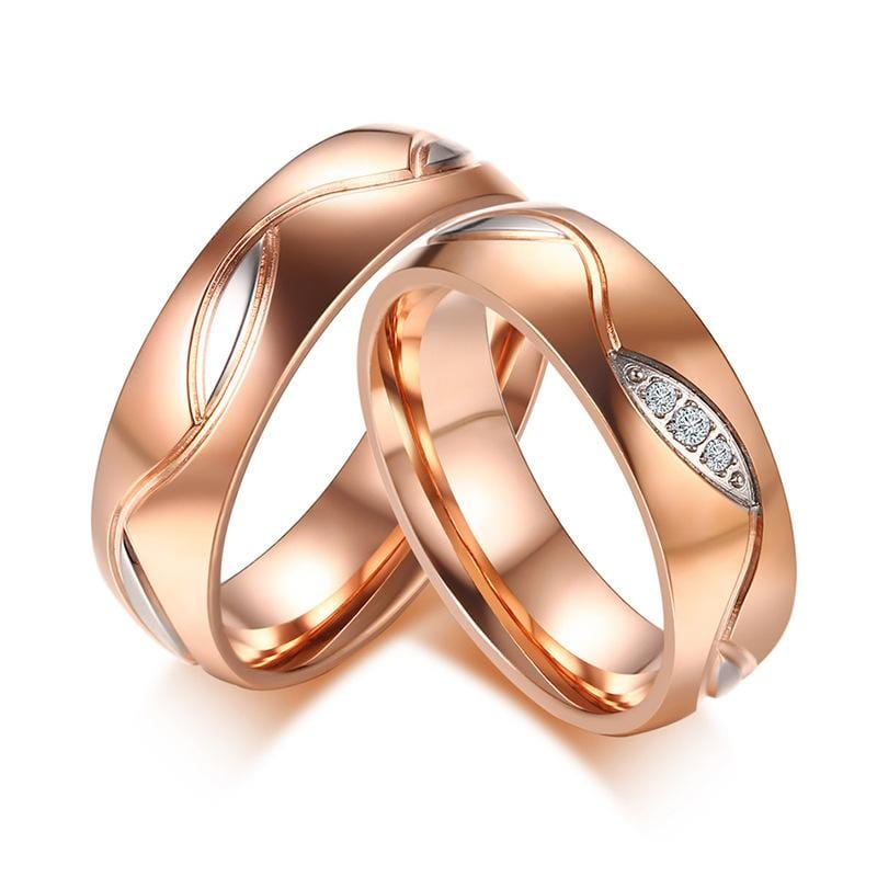Rose Gold Plating Stainless Steel Couple Rings