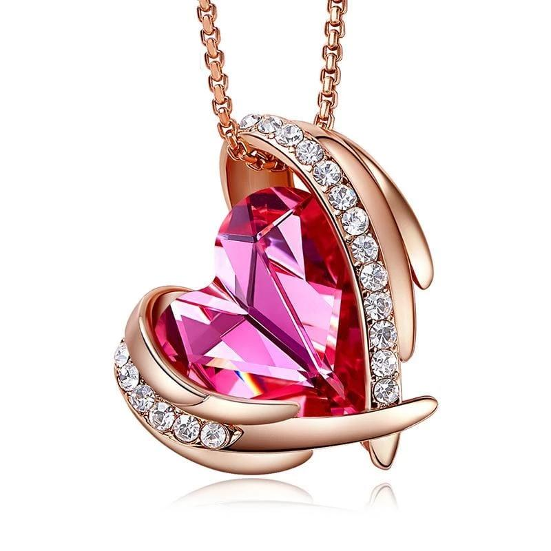 Fancy Pink Crystal Heart and Wings Necklace
