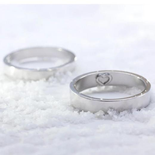 Hidden Heart-Mark Engravable Promise Rings for Couple in Sterling Silver