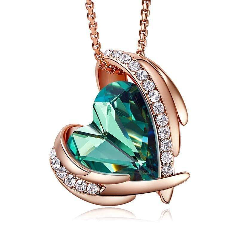 Emerald Green Crystal Heart and Wings Necklace