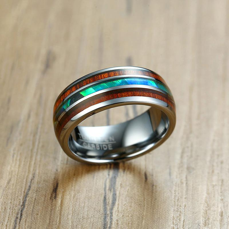 Natural Colorful Shell Tungsten Carbide Ring for Men