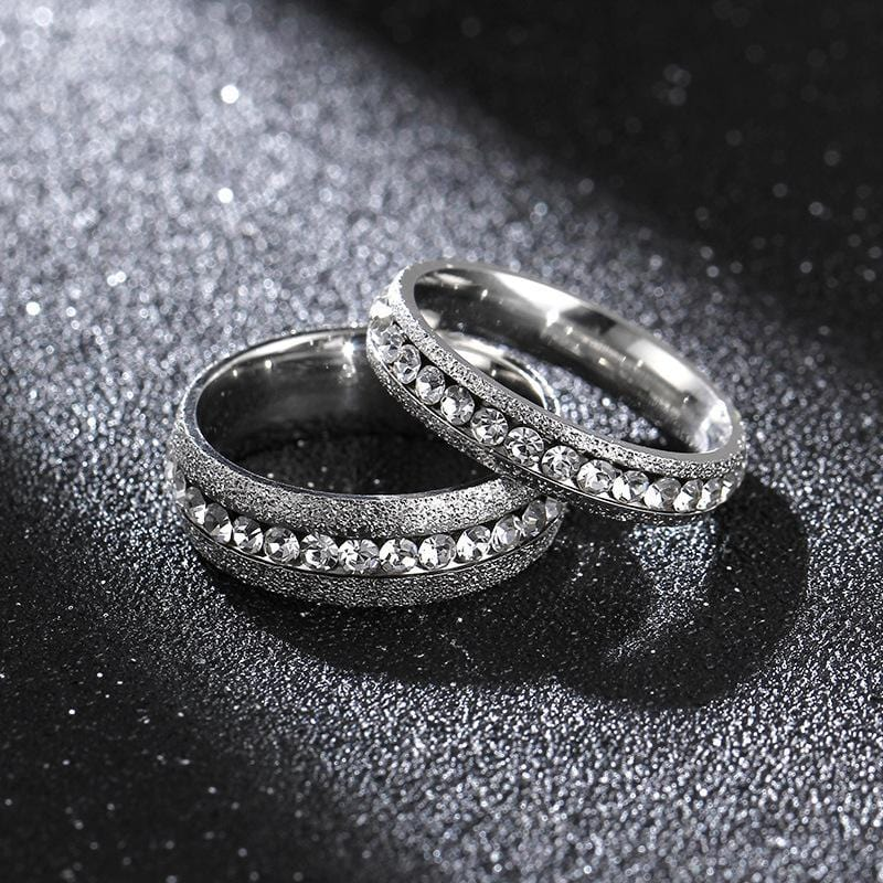 Couple's Diamond Frosted Polished Titanium Promise Ring