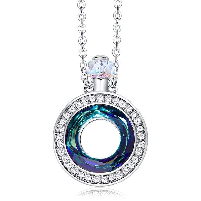 Round Perfume Bottle Crystal Necklace for Her