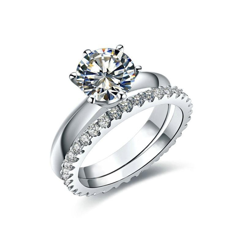 2.0 CT. Round Diamond Bridal Set in Sterling Silver ALLBIZIA