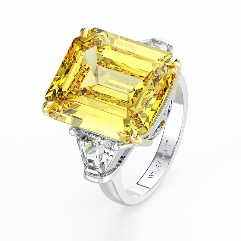 14mm Emerald-Cut Yellow Pink White Sapphire Three Stone Promise Ring in Sterling Silver ALLBIZIA