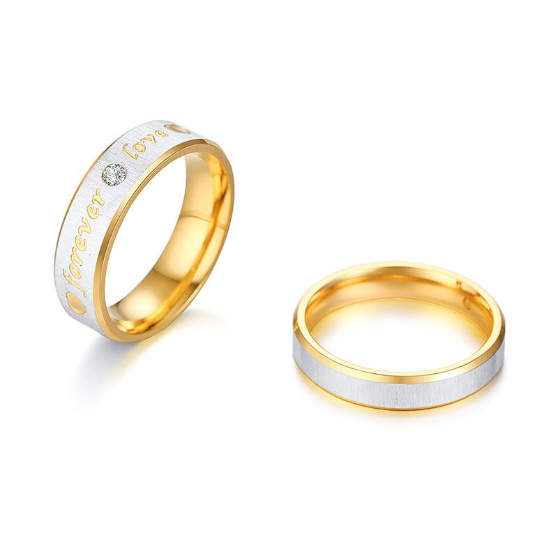 Round Cut Gemstone Forever Love Stainless Steel Promise Rings for Couples