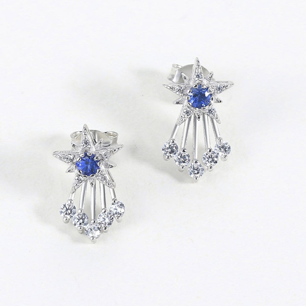 Two-way Wear Blue Sapphire S925 Sterling Silver Ear Jackets
