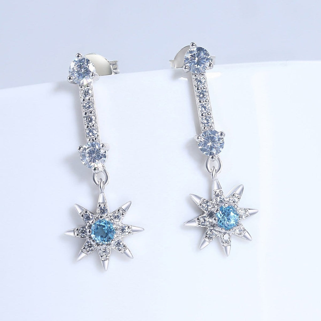 Swiss Blue Topaz Star Shape Sterling Silver Drop Earrings