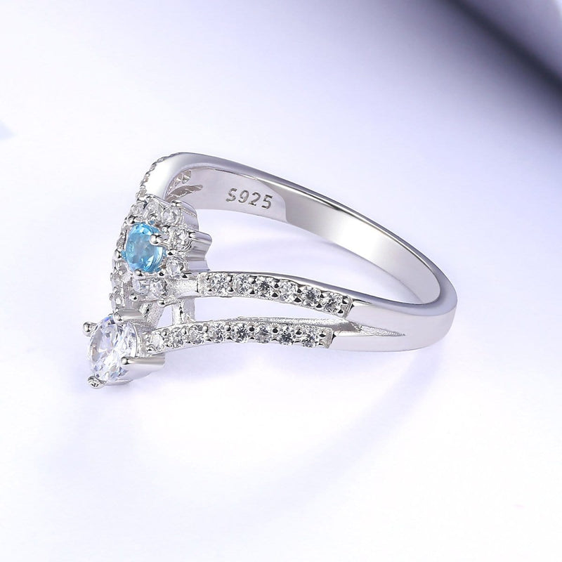 Blue and White Sapphire Split Shank Chevron Promise Ring in Sterling Silver