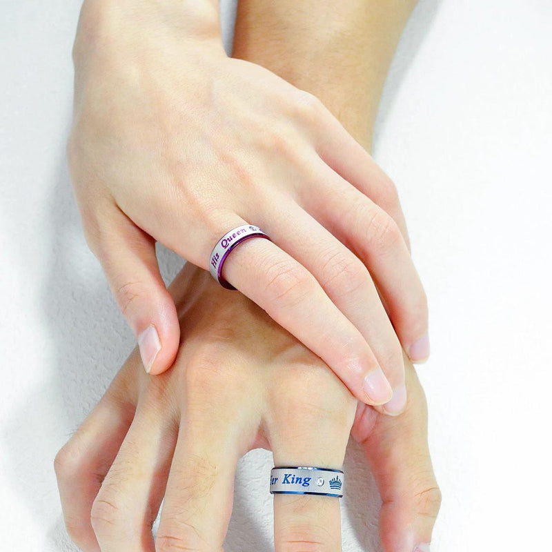 Her King His Queen Stainless Steel Wedding Promise Couple Rings