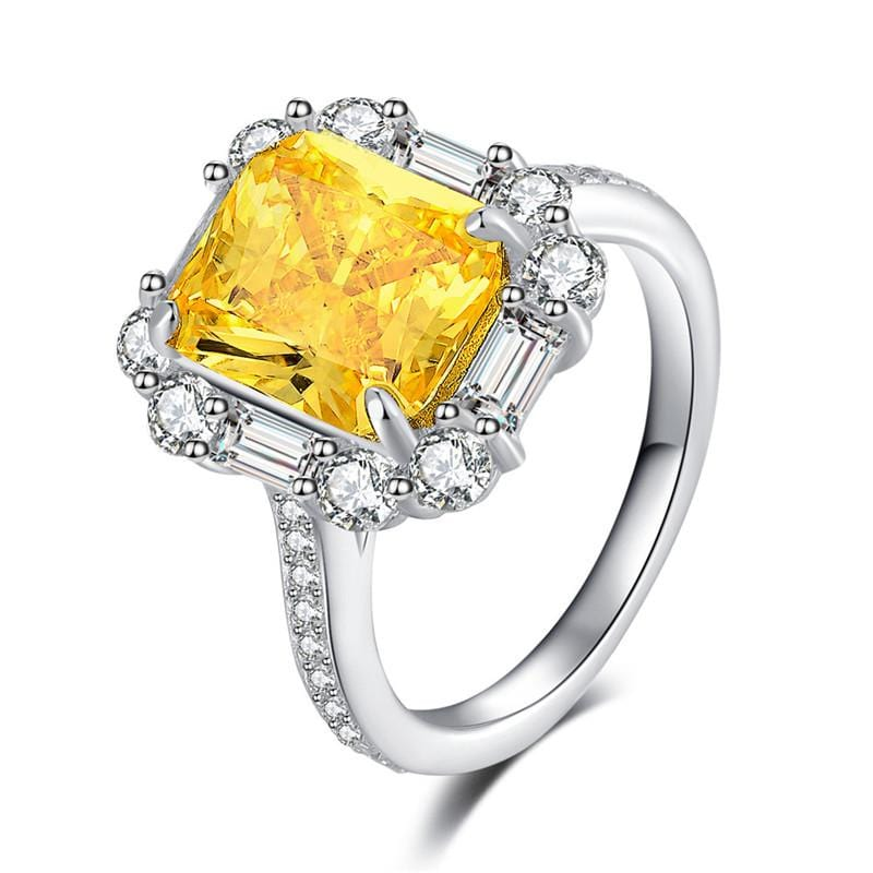 3.0 CT. Emerald-Cut Yellow and White Diamond Engagement Ring in Sterling Silver ALLBIZIA