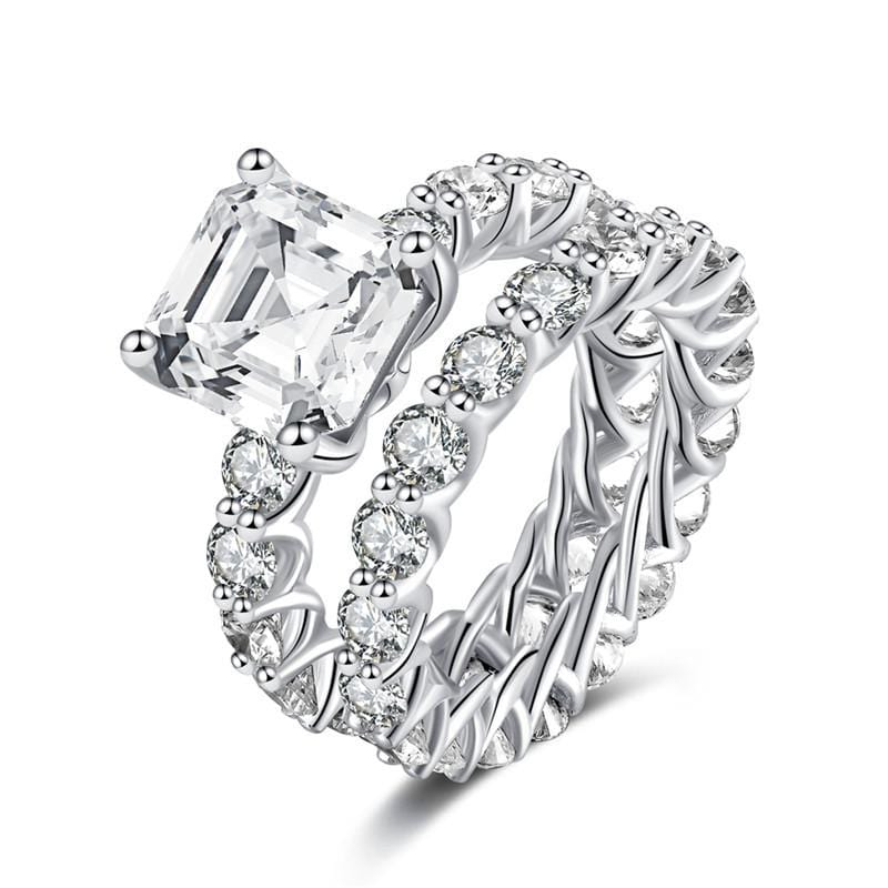 4.0 CT. Asscher-Cut Diamond Eternity Bridal Set in Sterling Silver