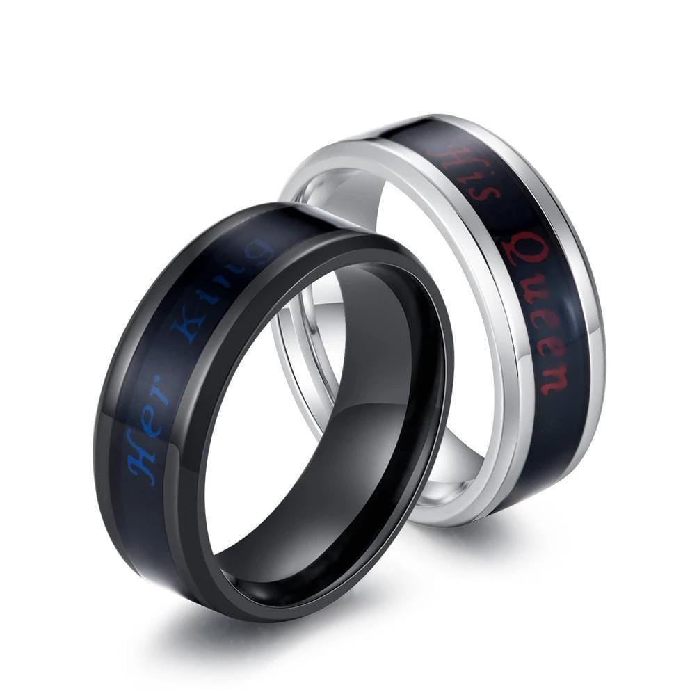 Couple's 8mm Her King His Queen Temperature Sensitive Promise Rings in Stainless Steel