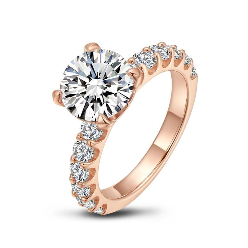 3.0 CT Round-Cut Diamond Solitaire With Side Accents Rose Gold Plated Engagement Ring ALLBIZIA