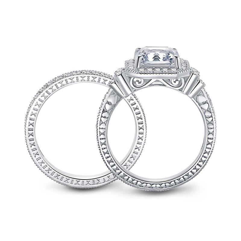 3.0 CT. Asscher-Cut Diamond Frame Designed Vintage Style Bridal Set in Sterling Silver ALLBIZIA