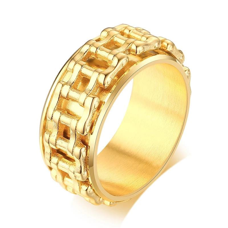Mechanical Fashion Style Yellow Gold Stainless Steel Ring for Him