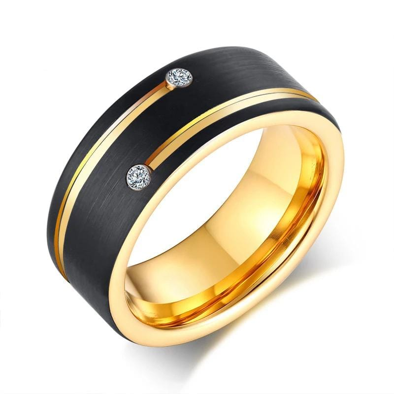 Shinning Round Cut Cubic Zirconia Black and Yellow Gold Tungsten Ring for Him