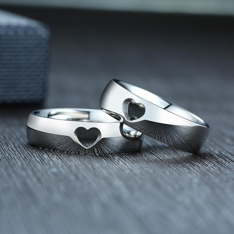 Couple's Adorable Hollow Heart Promise Rings