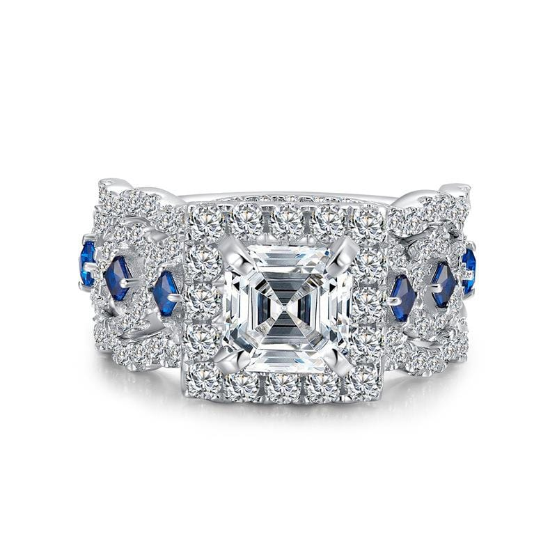 2.0 CT. Asscher-Cut Diamond Square Frame Vintage-Style Bridal Set in Sterling Silver ALLBIZIA