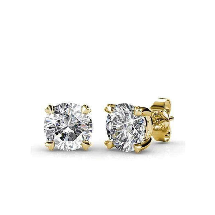 Classic Brilliant Diamond Sterling Silver Earrings for Her