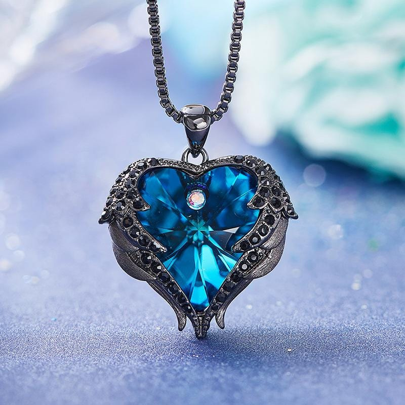 Blue Crystal Heart and Black Wings Necklace