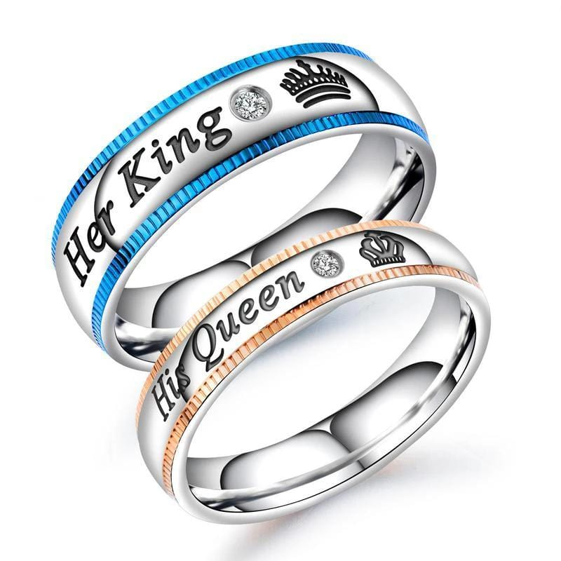 Her king His Queen Blue & Rose Gold Stainless Steel Promise Rings for Couples