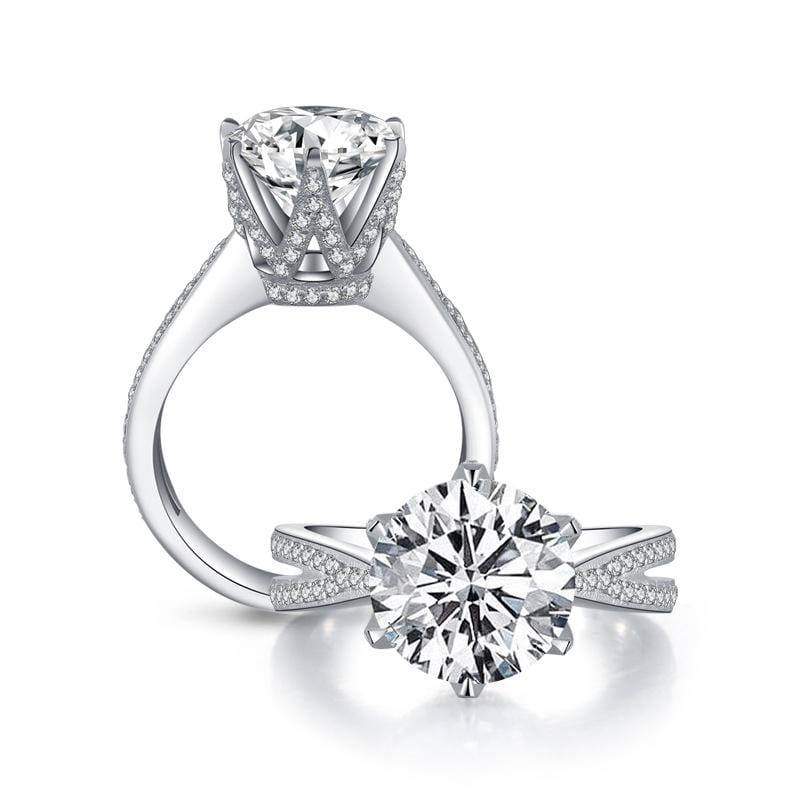 3.0 CT Diamond Cathedral Setting Split Shank Engagement Ring in Sterling Silver ALLBIZIA