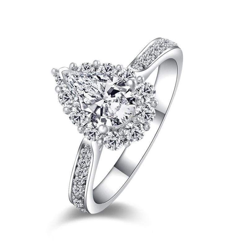 1.0 CT. Diamond Pear-Cut Halo Frame Channel Setting Engagement Ring in Sterling Silver ALLBIZIA
