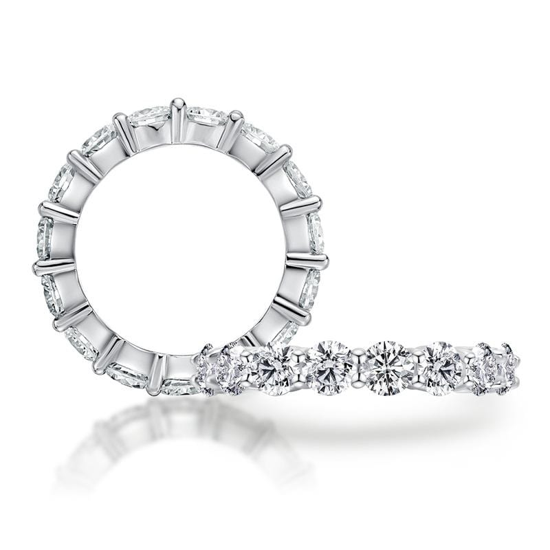 2.0 CT. Round Diamond Eternity Wedding Band in Sterling Silver ALLBIZIA