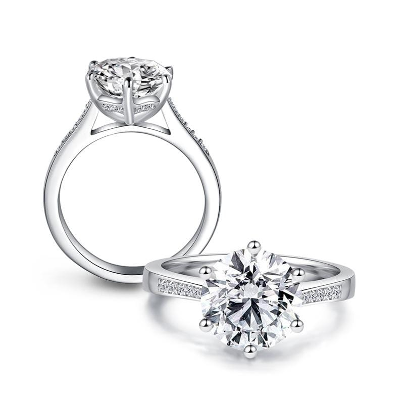 3.5 CT Round-Cut Diamond 6 Prongs Setting Engagement Ring in Sterling Silver ALLBIZIA