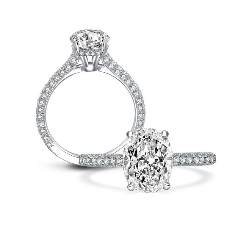 2.5 CT. Oval-Cut Diamond Pavé Setting Engagement Ring in Sterling Silver ALLBIZIA