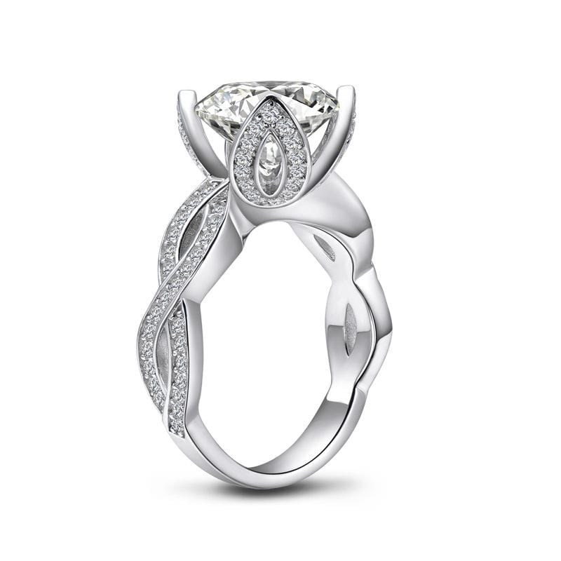 3.5 CT. Round-Cut Flower Leaves Prong Setting Twist Shank Designed Engagement Ring ALLBIZIA