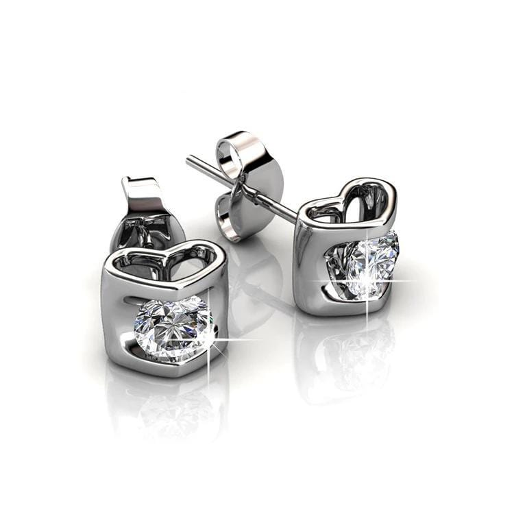 Adorable 3D Heart Diamond Sterling Silver Ear Studs