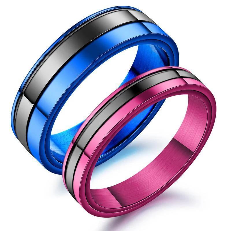 Blue & Purple Stainless Steel Promise Rings for Him and Her